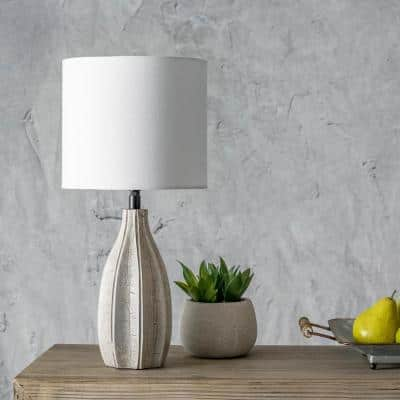 Burlington 20 in. Gray Contemporary Table Lamp with Shade