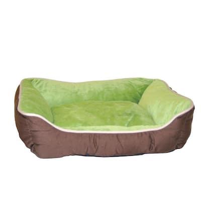 Lounge Sleeper Small Mocha/Green Self Warming Dog Bed