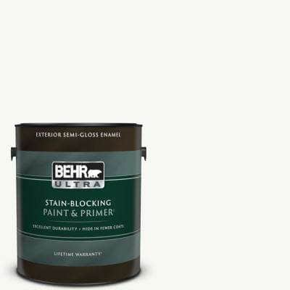 1 gal. #PPU18-06 Ultra Pure White Semi-Gloss Enamel Exterior Paint & Primer