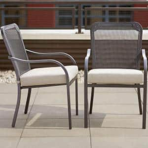 Vernon Hills Stationary Patio Dining Chair with Beige Cushions (2-Pack)
