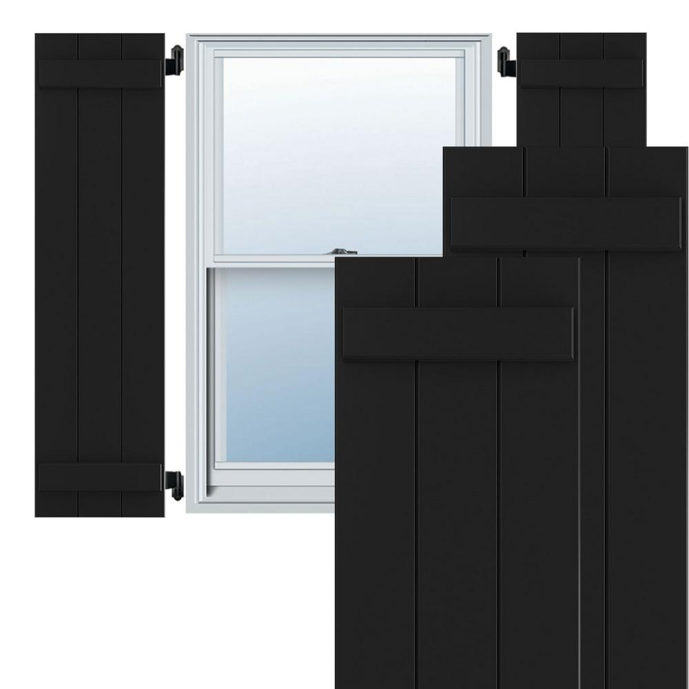 Ekena Millwork 16 1 8 X 72 True Fit Pvc Three Board Joined Board N Batten Shutters Black Per Pair 1572614 The Home Depot