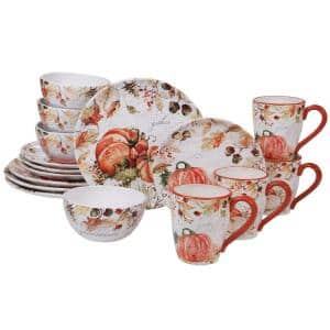 Harvest Splash 16-Piece Country/Cottage Multi-Colored Earthenware Dinnerware Set (Service for 4)