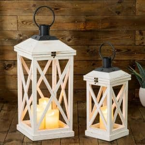 Wash White Farmhouse Modern Wooden Lanterns (Set of 2)