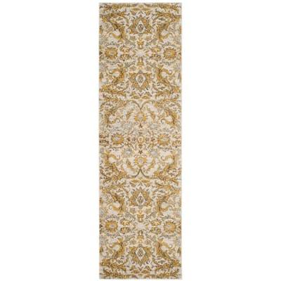 Evoke Ivory/Gold 2 ft. x 9 ft. Floral Runner Rug