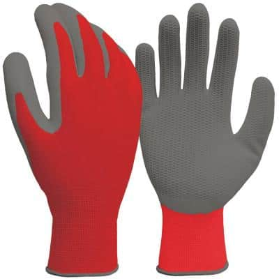 Small Red Honeycomb Grip Latex Coated Glove