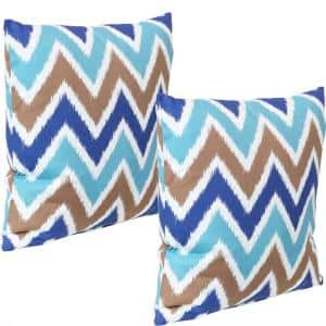 17 in. x 17 in. Light Blue Chevron Bliss Outdoor Decorative Throw Pillows (Set of 2)