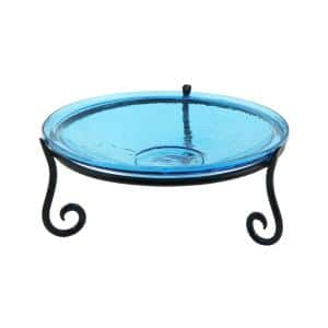 14 in. Dia Teal Blue Reflective Crackle Glass Birdbath Bowl with Short Stand II