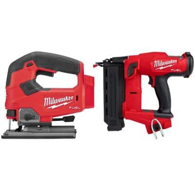 M18 FUEL 18-Volt Lithium-Ion Brushless Cordless Jig Saw with 18-Gauge Brad Nailer (2-Tool)