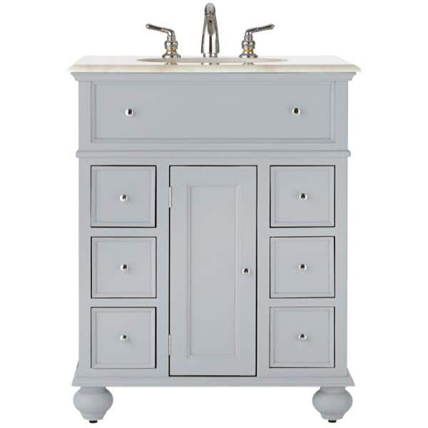 Home Decorators Collection Hampton Harbor 28 In Vanity In Dove Grey With Natural Marble Vanity Top In White With White Sink Bf 22267 Dg The Home Depot