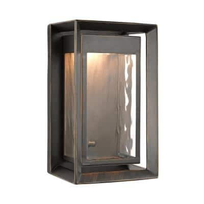 Urbandale 1-Light Antique Bronze Outdoor 10 in. Integrated LED Wall Lantern Sconce