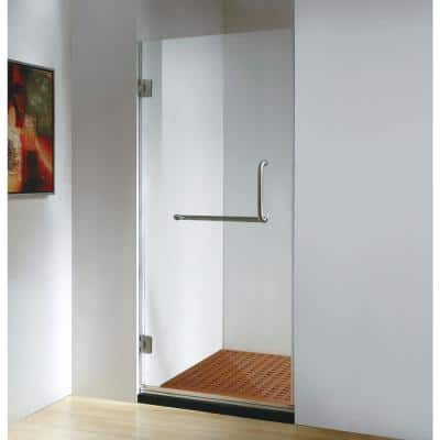 30 in. x 79 in. Frameless Hinged Shower Door Clear Class in Stainless Steel with Handle