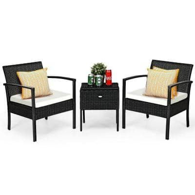 3-Piece Wicker Outdoor Patio Rattan Bistro Furniture Set with White Cushion and Storage Table