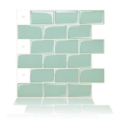 Light Green 12 in. x 12 in. Subway Vinyl Tiles Peel and Stick Backsplash Wall Tiles (8.2 sq ft./Box)
