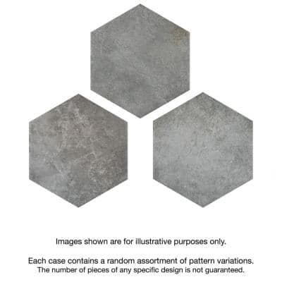 Heritage Hex Shadow 7 in. x 8 in. Porcelain Floor and Wall Tile (7.67 sq. ft./Case)