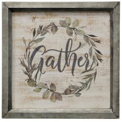 Gather Wreath Multicolored Wooden Wall Art