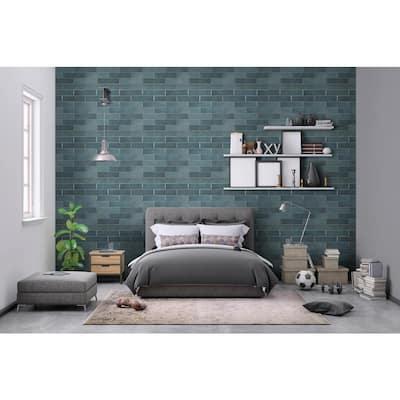Lakeview Denim Bullnose 3 in. x 12 in. Glossy Ceramic Wall Tile (10 lin. ft./Case)