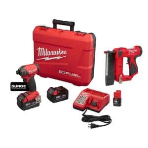M18 FUEL SURGE 18-Volt Lithium-Ion Brushless Cordless 1/4 in. Hex Impact Driver Kit with M12 Pin Nailer & 2.0 Ah Battery