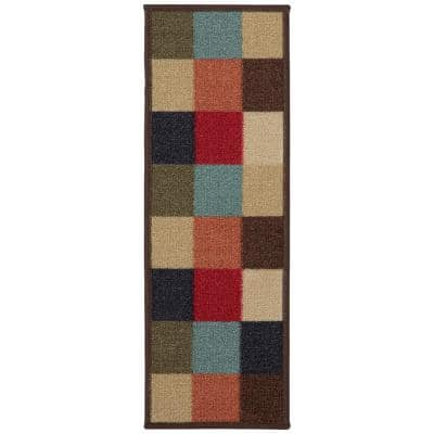 Ottohome Collection Multicolored 9 in. x 26 in. Rubber Back Stair Tread (Set of 7)