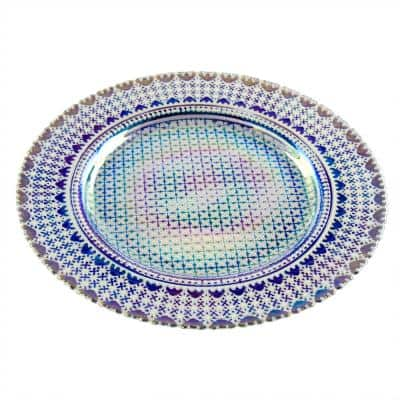 Handmade Glass 2-Piece Set 12.5 in. Blue Charger Plate