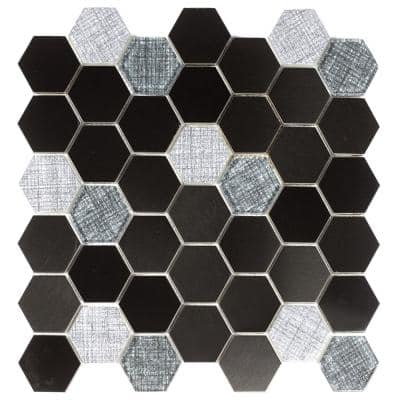 Enchanted Metals Blue & Gray Hexagon Mosaic 2 in. x 2 in. Glass & Metal Mesh Mounted Wall Tile (1 Sq. ft.)