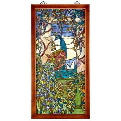 Peacock With Wisteria Wood-Framed Stained Glass Window Panel