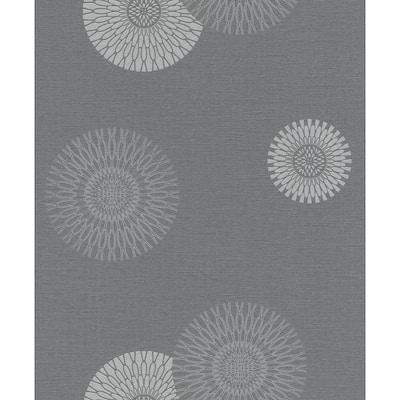 Eliel Grey Medallion Grey Wallpaper Sample