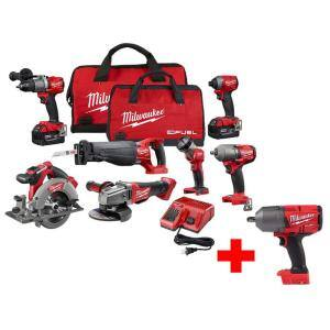 M18 FUEL 18-Volt Lithium-Ion Brushless Cordless Combo Kit (7-Tool) with  M18 FUEL 1/2 in. Impact Wrench