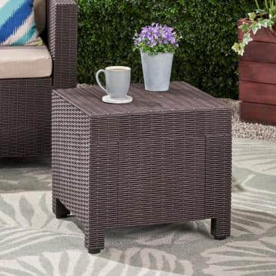 Waverly 17 in. Dark Brown Square Faux Wicker Outdoor Side Table