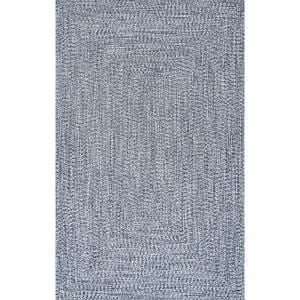 Lefebvre Casual Braided Light Blue 9 ft. x 12 ft. Indoor/Outdoor Area Rug