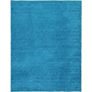 Solid Shag Turquoise 10 ft. x 13 ft. Area Rug