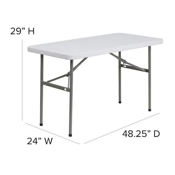 48 25 In Granite White Plastic Tabletop Metal Frame Folding Table Cga Flf 20738 Gr Hd The Home Depot