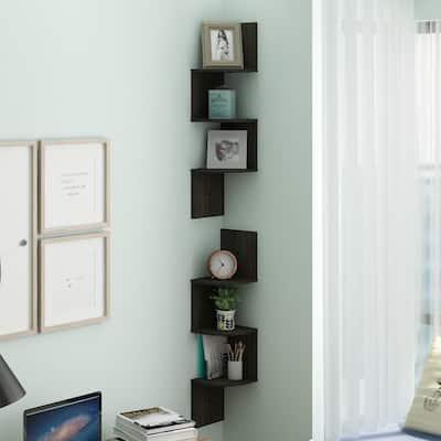 Espresso 3-Shelf Radial Floating Corner Shelf (2-Pack)