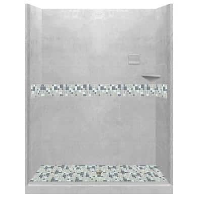 Newport 54 in. L x 42 in. W x 80 in. H Alcove Shower Kit with Shower Wall and Shower Pan in Portland Cement