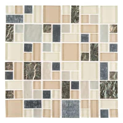 Royal Glaze Cream 11.875 in. x 11.875 in. Square Mixed Glass and Metal Mosaic Tile (0.979 sq. ft./Each)