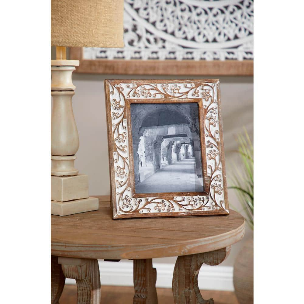 Litton Lane 8 In X 10 In Rectangular Carved Wood Antique Floral Picture Frame With Whitewash Finish 54646 The Home Depot