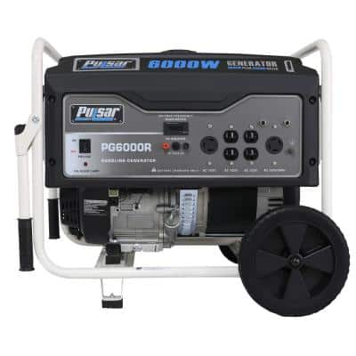 6,000-Watt/5,000-Watt Recoil Start Gasoline Powered Portable Generator with CARB Compliant 274 cc Engine and Wheel Kit