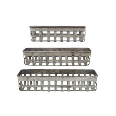 24-1/2 in., 20 in. and 16 in. L Iron Open Weave Baskets (Set of 3)
