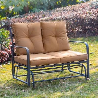 Metal Outdoor Patio Loveseat Glider Chair in Tan Cushion