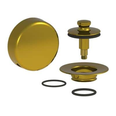 QuickTrim Lift and Turn Bathtub Stopper with Innovator Overflow and 2 O-Rings Trim Kit, Polished Brass