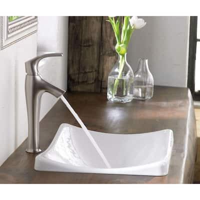 Symbol Single Hole Single Handle Mid-Arc Bathroom Vessel Sink Faucet in Vibrant Brushed Nickel
