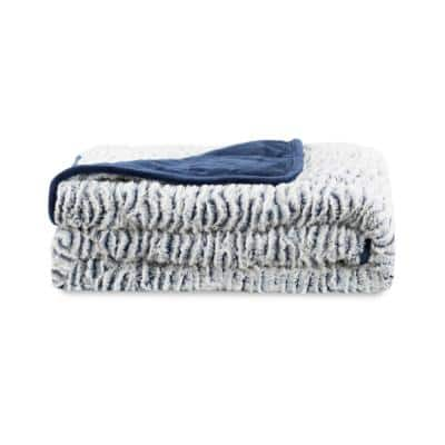 Navy Reversible Faux Fur 48 in. x 72 in. x 15 lbs. Weighted Throw Blanket