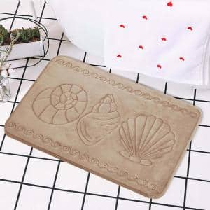 Cozy Cotton Candy Soft Taupe Sea Shell 17 in. x 24 in. Non-Slip Memory Foam Super Absorbent Bath Rug