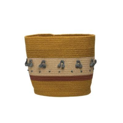 Jute Rope Decorative Basket with Tassels