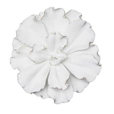 20 in. White/Gold Wall Flower Plaque