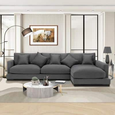 2-Piece 128.3 in. W Gray L Shape Polyester Right Facing Sectional Sofa and Chaise