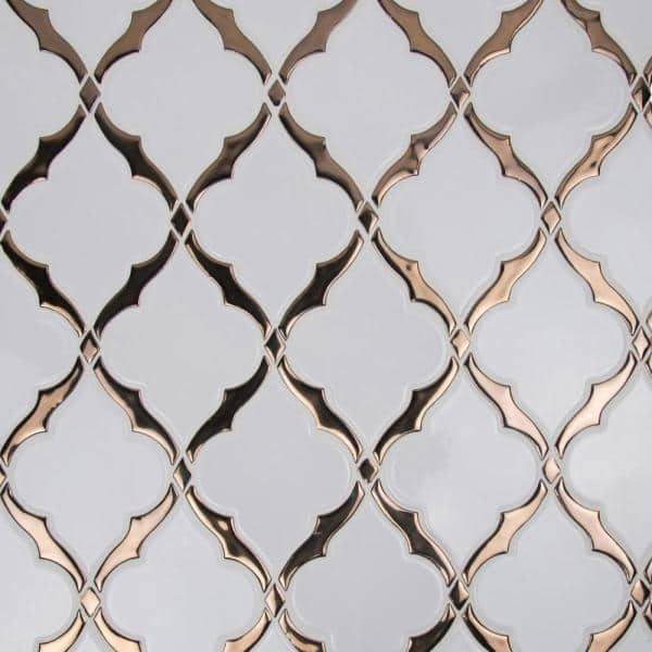 victorian light arabesque 14 13 in x 10 59 in x 8mm glossy porcelain mesh mounted mosaic tile 10 4 sq ft case