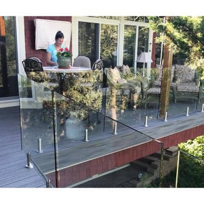ClearView Glass Railings 18 in. x 39.37 in. Tempered Laminated Hercules Glass Panel with Spigots
