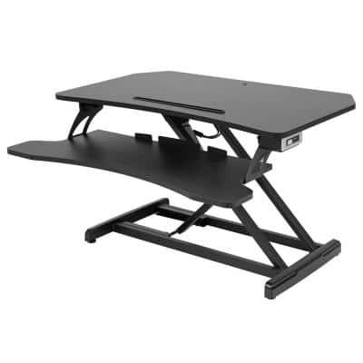Black 33 in. Height Automatic Adjustable Standing Desk Computer Desk Workstation Dual Monitor Riser and Keyboard Tray
