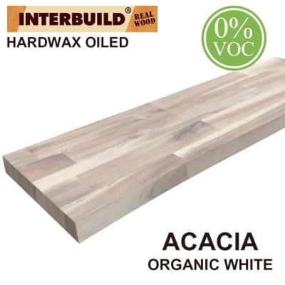 Acacia 3 ft. L x 10 in. D x 1.5 in. T Butcher Block Countertop Floating Wall Shelf in Organic White Stain with Live Edge