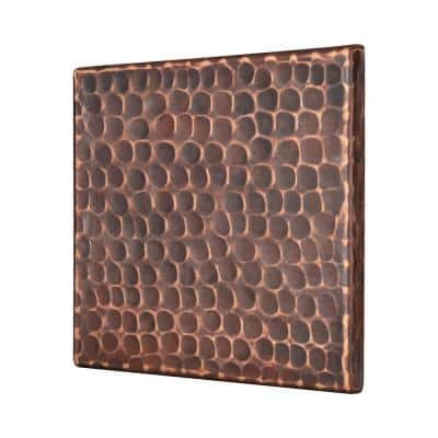 4 in. x 4 in. Hammered Copper Decorative Wall Tile in Oil Rubbed Bronze (8-Pack)